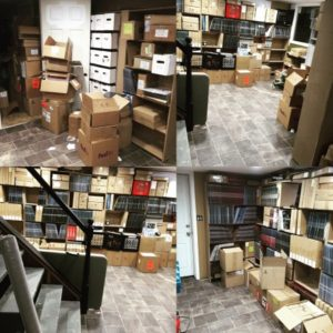 The recent move from warehouse to his own basement. Twelve years worth of releases and merchandise.